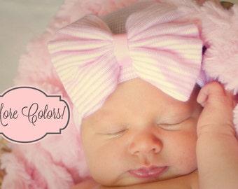 Pink Newborn hospital hat, Pink hospital hat with bow, Pink newborn hospital beanie with Bow, Baby Girl Newborn beanie with bow