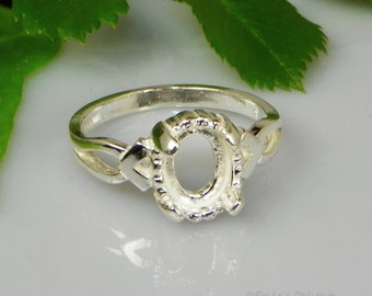Oval Triplet (8x6 - 10x8) Cabochon (Cab) Sterling Silver RING Setting (ID# 163-570)