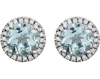 14K White Gold Aquamarine & Diamond Round Halo Style Stud Earrings March Birthstone 1.68 CTW Aquamarine, 1/8 CTW Diamonds