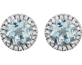 14K White Gold Aquamarine & Diamond Round Halo Style Stud Earrings March Birthstone 1.68 CTW Aquamarine, 1/8 CTW Diamonds