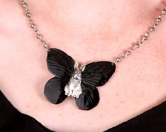 Darling Black Enamel & Silver Plated Bunnyfly Butterfly Necklace with Bunny in the Center, 15 inches Long