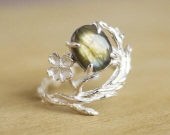Labradorite Ring / Sakura Ring / Labradorite Ring / Flower sterling silver ring / Cherry blossom ring