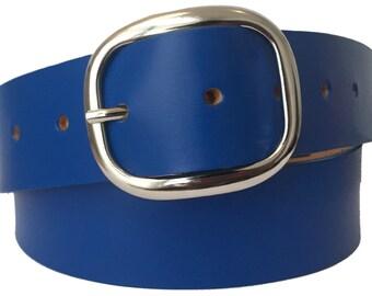 Cobalt Blue Leather Belt Strap - Full Grain Leather