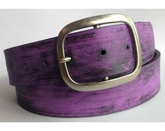 Violet Distressed Leather Belt Strap - Full Grain Leather
