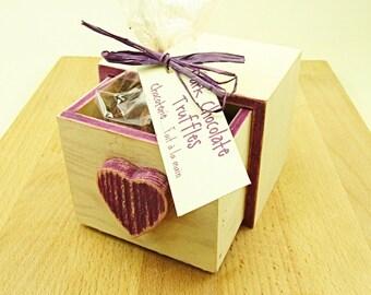 Valentines Gift, Chocolate Truffles in Hand Painted Box