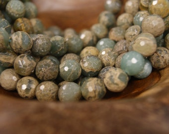 Blue Impression Jasper  8mm 12mm Smooth Round 12mm Faceted Round Gemstone Beads-15 inch Strand