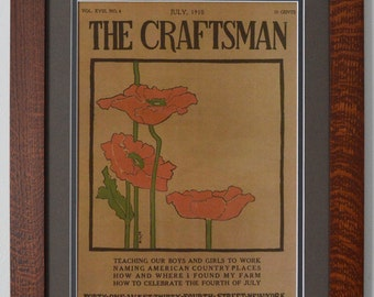 The Craftsman Poppies Mission Style Art in Quartersawn Oak Frame