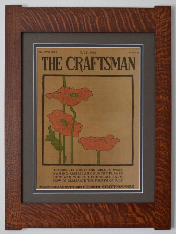 The Craftsman Poppies Mission Style Art In Quartersawn Oak