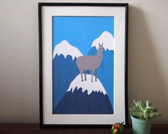 Llama illustration A4 print - Llama print - art print - wall art - home decor - Mountain illustration - Darma the Llama - Llama illustration