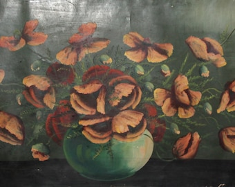 Vintage large impressionist oil painting still life with flowers oil painting