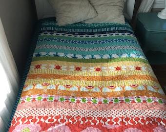 Quilt (Patchwork) – Under the Rainbow –Twin -Full - Crib Blanket