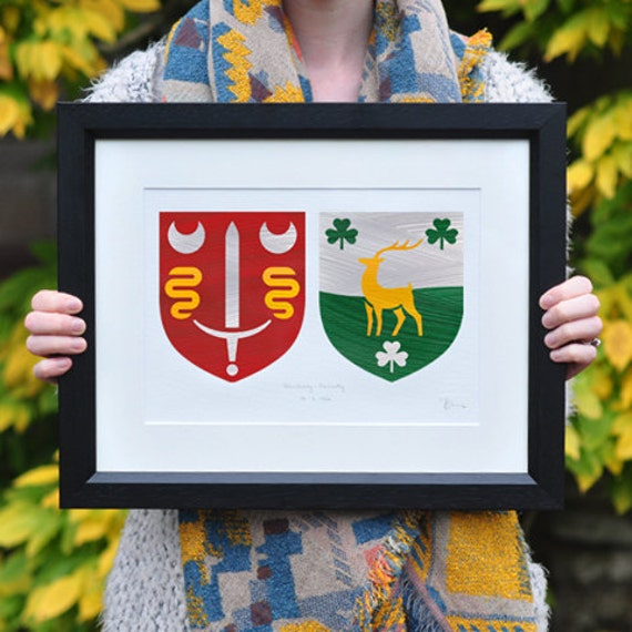 Personalised Wedding Gift Ireland : Personalised Wedding Gift. Family Coat of Arms Crest. Handmade in ...