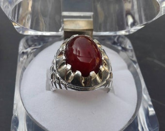 Aqeeq Agate ring Shifat al abd yamani Sterling silver dark blood color Size 10 Resizable