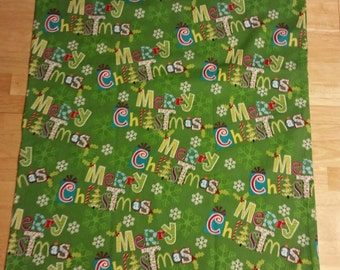 Holiday Themed Pillowcase Pair. Merry Christmas. Happy Holidays. Green. Red. Snowflakes