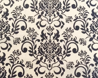 Black and White Damask Fabric Lightweight Cotton