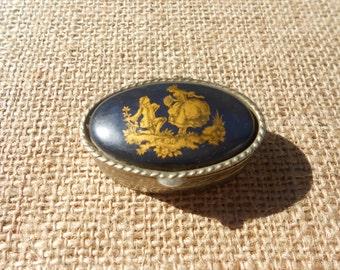 Vintage pillbox/Blue pillbox/Italian pillbox