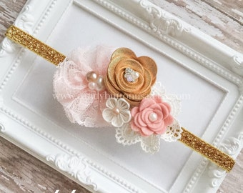 Pink And Gold Baby Headband, Blush Gold Headband, Girls Headband, Elastic Headband, Flower Headband, Pink Baby Headband.