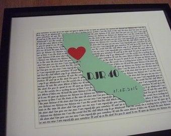 California State Art, Wedding Song Lyrics, Paper Anniversary Gift, Unframed California Decor, State Love,Where We Met, Paper Anniversary