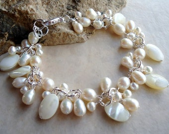 White Pearl Cluster Bracelet.Mother of Pearl.Wedding.Sterling Silver Plate.Beadwork.Bridal.Valentine.Birthday.Mother's.Formal.Luxe.Handmade.