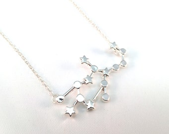 Virgo Zodiac Sign Constellation Necklace - Silver Toned