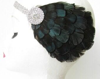 Silver Navy Blue Black Lady Amherst Feather Headpiece 1920s Flapper Headband Vintage Flapper Headdress 1930 Charleston Silver Rhinestone T71