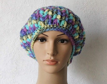 Floral Slouchy Beret Mixed Fibers Hand Knitted Hat