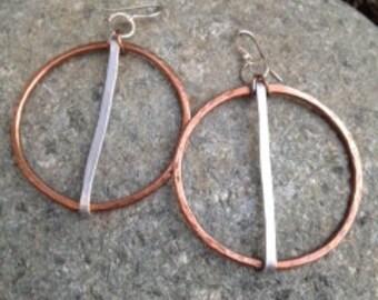 Delicate Copper and Aluminum hoop earrings