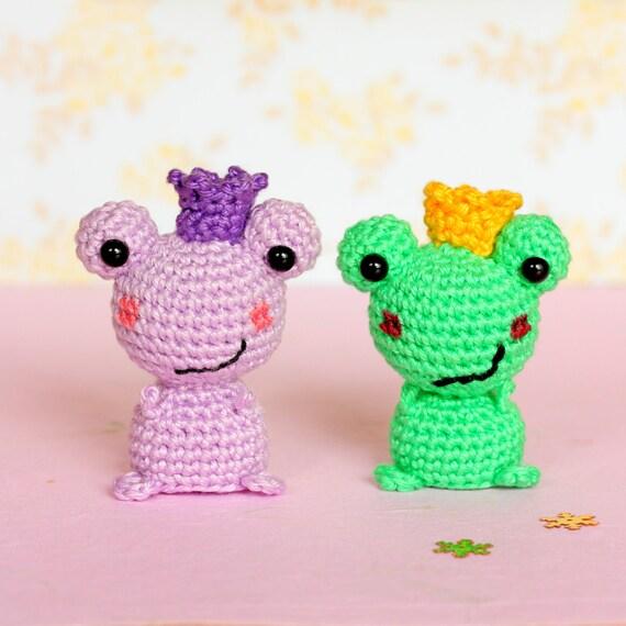 Mini amigurumi frog stuffed animal Crochet frog prince