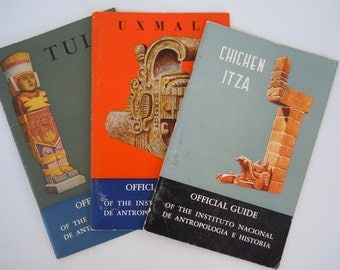 Mexico Archeology Travel Guide Set Alberto Ruz 3 Booklets Chicen Itza Uxma Tula