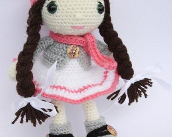 Hannah, Crocheted  Amigurumi Doll - Ready to Ship