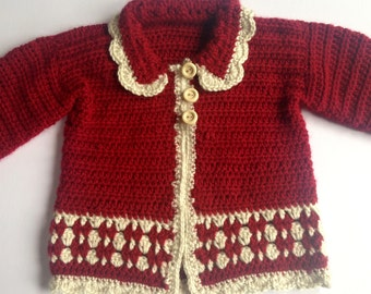 Crochet Baby Jacket.Baby christmas Gift. Red baby coat. sizes 0-3months, 3-6 months, 6-12 months, 12-24 months.
