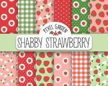 Shabby Strawberry Digital Paper. Cottage Chic Scrapbooking Paper. Floral Strawberry Blossom Pattern. Summer Background in Mint, Pink, Red.