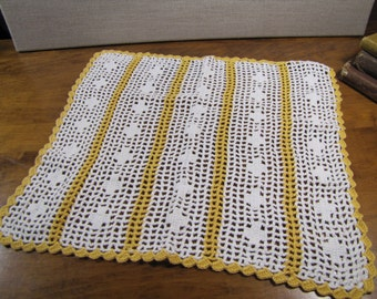 Crocheted White and Deep Yellow Rectangular Doily - Table Cover