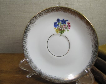 Cottier Freres Small Saucer - Flower Bouquet - Gold Accent - Made in Switzerland