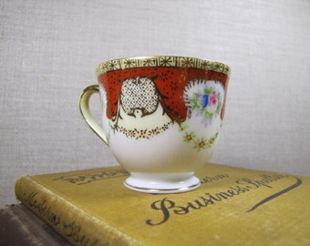Gold China - Hand Painted Teacup - Made in Occupied Japan - Red and Gold With Floral Pattern