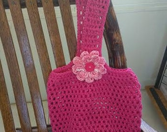 Small Crocheted Tote/Market Bag in Pink with Removable Flower
