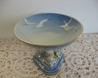 Royal Copenhagen Vintage China,Footed Candy Dish,Pillar Holder,Seagull Pattern,Dolphin Base,Denmark, Bing & Grondahl,Blue,White,Gold Trim