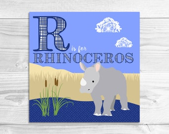 Instant Download: R is for Rhinoceros Wall Art Print // Baby Art, Nursery Art, Alphabet Art