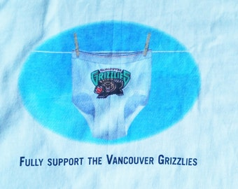 Fully Support The VANCOUVER GRIZZLIES Vintage 90s Promo Shirt Fruit Of The Loom Underwear Tee XL Defunct Basketball Team