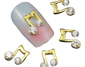3D Nail Art Decorations Gold Music Note Rhinestones For Nails DIY Nail Tools 10pcs  music nail art