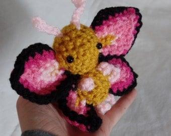 "Crochet Pink Butterfly Plush ""Rubifly"""