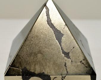 "53mm Pyrite w/ Hematite Crystal Pyramid ""Fool's Gold"" Natural Polished Stone Healing Mineral Meditation Stone Pyramid - India (STPYPY-NA28)"