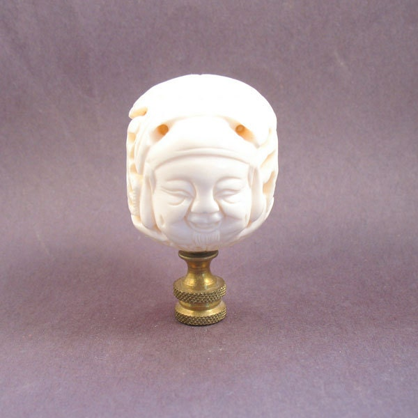 Asian Lamp Finial: Ox Bone Face Ball. Vintage Carved Asian