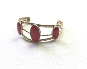 Retro Silver and Red Stone Cuff Bracelet