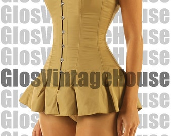 Corset with skirt skirted corset Full steel boned Strong overbust