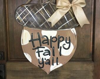 Acorn Door Hanger for Fall Wood Hand Painted