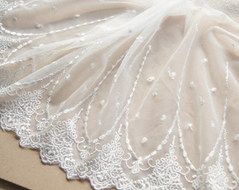White Floral Lace Trim Embroidered Tulle Lace Trim 7.871 Inches Wide 2 Yards L0450