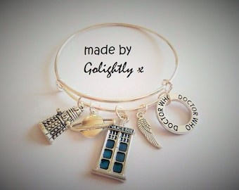 DOCTOR WHO inspired charm bracelet expandable bangle - fan gift - xmas - birthday gift - Tv Jewellery