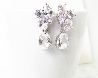 Crystal Bridal Earrings, Bridal Cluster Earrings, Bridesmaids Earrings, Crystal Bridal Earrings, Crystal Studs