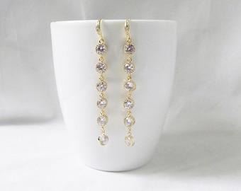 Long crystal wedding earrings, long crystal earrings wedding, Crystal Bridal Earrings, Gold crystal drop earrings, Crystal dangle earrings